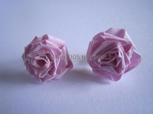 .Handmade Jewelry – Paper Strips Rose Stud 2  by fah2305