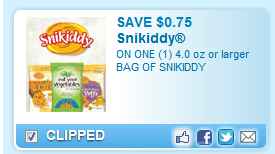 Save $0.75 On One (1) 4.0 Oz Or Larger Bag Of Snikiddy  Coupon