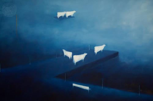 """Ernesto Morales: """"Partir, il dia y la noche"""" 2010 olio su tela 100x240 (particolare)"""