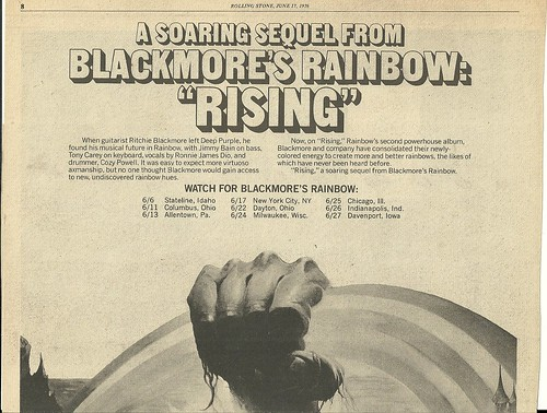 June 1976 Rainbow Rising Tour Ad (Top)