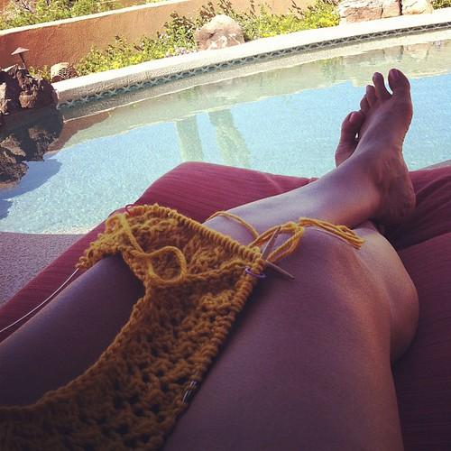 Knitting poolside