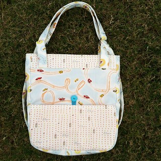 Finished backpack using heather ross's rabbits and race cars fabric