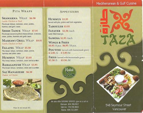 Taza restaurant brochure front