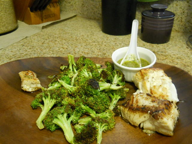 Fresh Halibut with broccoli and cilantro lime butter