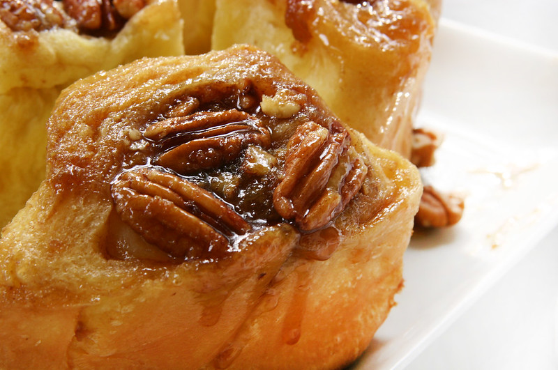 pecans sticky buns close up