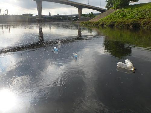 Instalação de funis coletores em transect, para amostragem de emissão ebulitiva, confluência dos rios Pinheiros e Tietê, São Paulo, SP