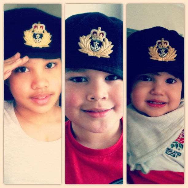 my babies in their daddy's RN's hat ❤✌ #childrenphoto #igers #igerspinoy #ig_kids #instahub