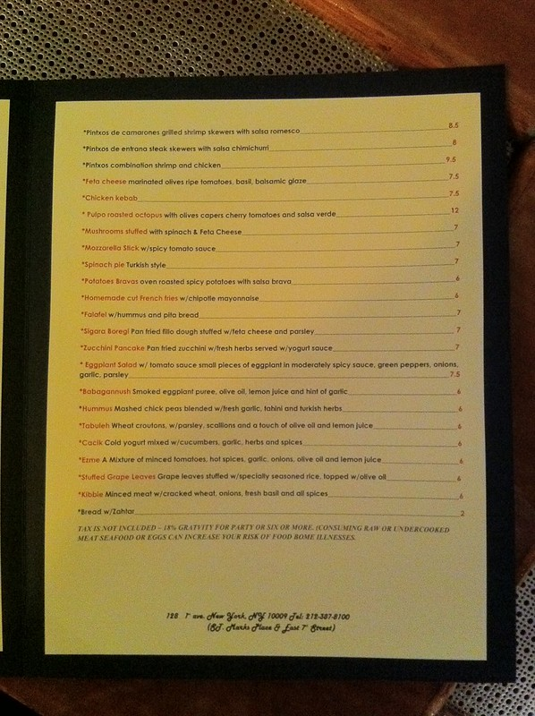 Med Tapas menu