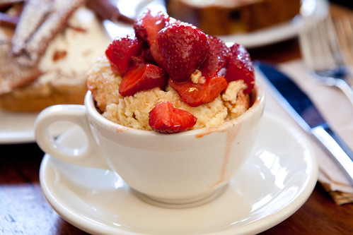 Bread pudding with fresh strawberries