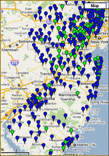 communities participating (blue) and certified (green) (courtesy of Sustainable Jersey)