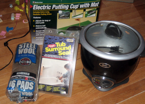 20120603 - yardsale booty - z - steel wool, electric putting cup, rice cooker, tub seal - IMG_4346