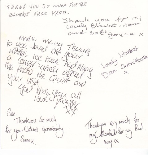 Signatures on the Thank You card.