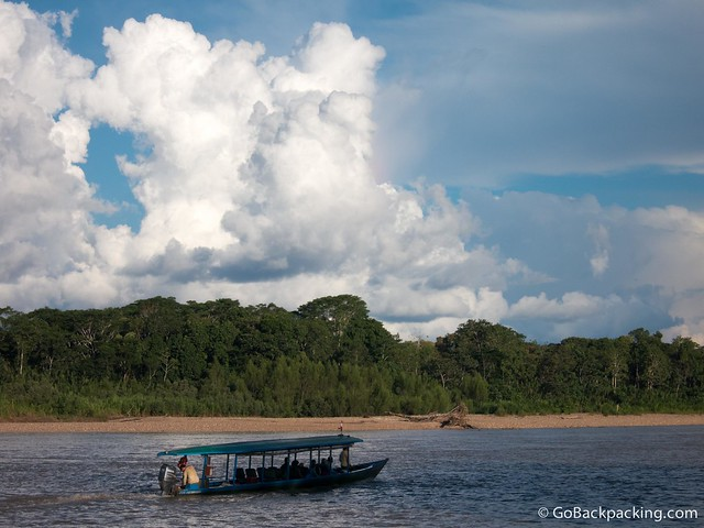 Spotting a jaguar while riding up the Tambopata River