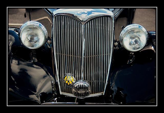 Black Riley Car Radiator Grill and Headlamps Detail Shot :
