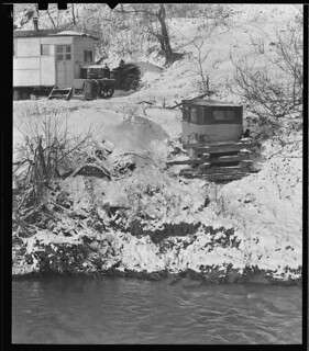 Outdoor privy - Scene taken from the main highway. The stream is Scott's Run, March 1937