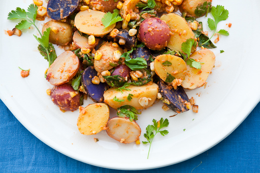 Grilled Corn and Roasted Red Pepper Potato Salad