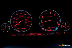 BMW 650i instrument cluster at night