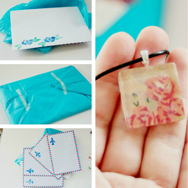 stationery swap with envelopes and necklace