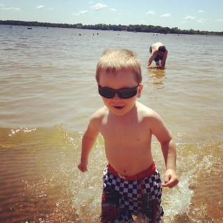 And this cool kid insisted he had to wear his sunglasses in the water.