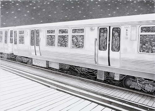 Laurie Lipton, Midnight Commuters, 2007