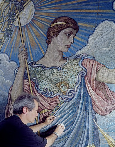 Second Floor, East Corridor. Mosaic of Minerva by Elihu Vedder, with restorer at work. Library of Congress Thomas Jefferson Building, Washington, D.C. (LOC)