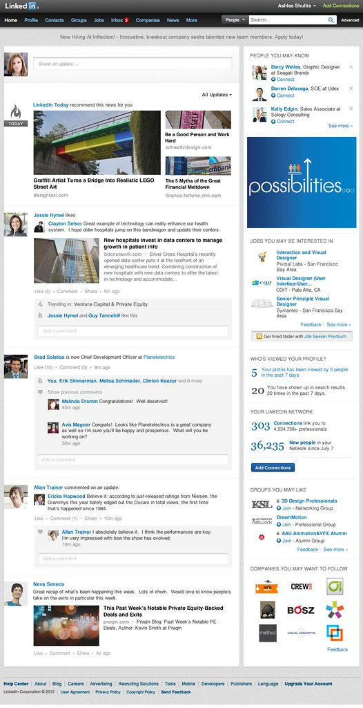 New LinkedIn home page look like facebook , google+ ,Mashable / Anil Labs
