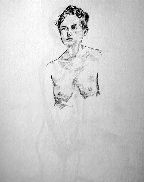 Sketch of a model's head and bust