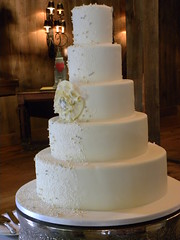 Soft yellow and lace Wedding Cake