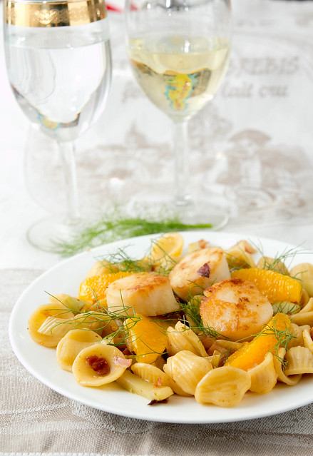 Scallops with Fennel-Orange Pasta