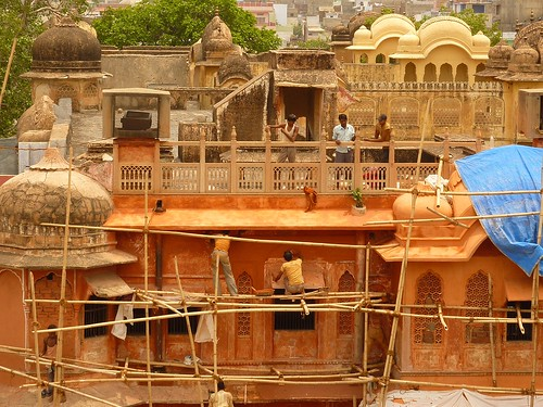 Renovation in Pink City Jaipur, across Hawa Mahal