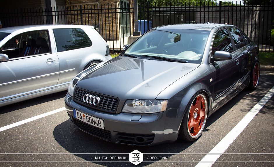 dolphin grey audi b6 a4  euroworks 6 2012 3pc wheels static airride low slammed coilovers stance stanced hellaflush poke tuck negative postive camber fitment fitted tire stretch laid out hard parked seen on klutch republik