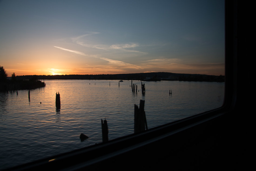 Sunset from Amtrak Cascades line