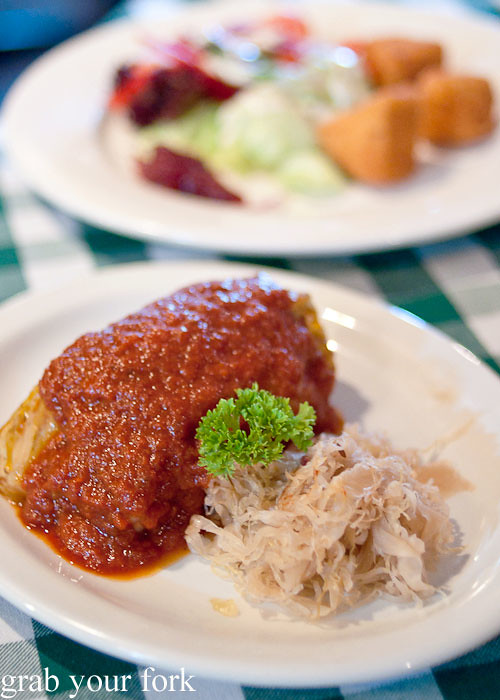 Stuffed cabbage rolls at Rhinedorf German Restaurant