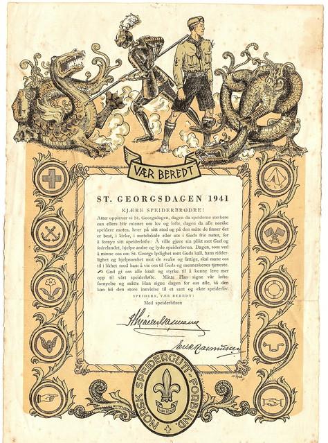 St. Georgsdagsbudskapet fra 1941, underskrevet av Speidersjef Hans Møller Gasmann og forbundssekretær Erik Rasmussen.