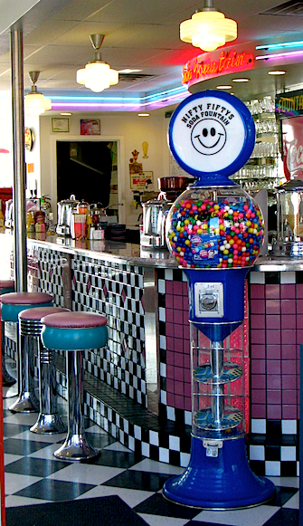 ice cream shop, bubble gum machine