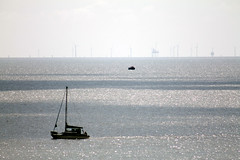 London Array Phase 1 Offshore wind Farm is seen under Construction at Frinton On Sea (1209) Saturday 14th April 2012