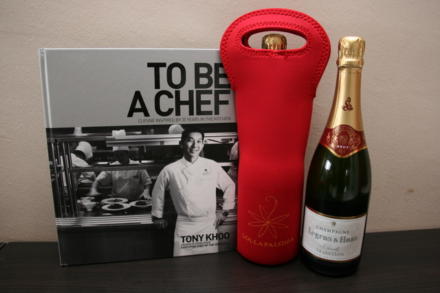 Tony Khoo's cookbook and Legras & Haas champagne