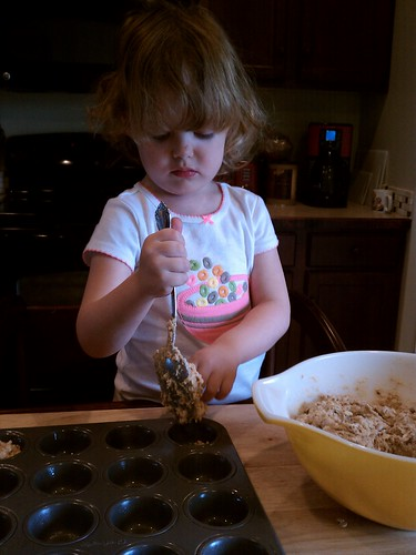 Making banana bread muffins