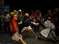 Naruto ninja tug-o-war over Sauske   All the ninjas you can see are from Naruto
