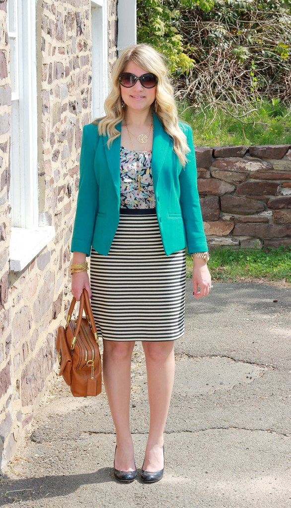 Business Casual Outfit: Floral and Stripes