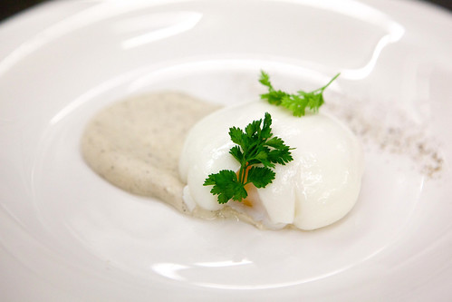 Chef Shaun Hergatt's third poached egg dish: Poached Egg on black truffle and celery root puree with chervil