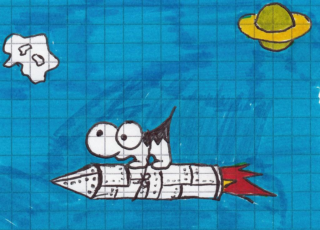 un animal zébré avec une fusée
