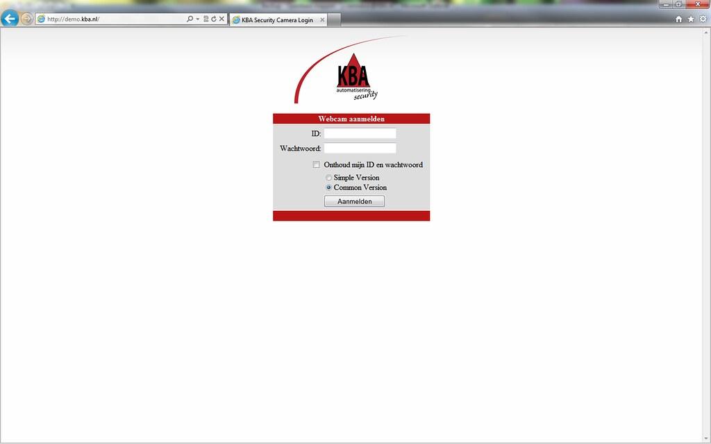 Login scherm geovision web