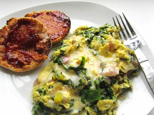 Scrambled Eggs w/ Chard & Cheddar