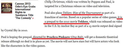 120522(2) - 好萊塢真人電影版『鐵拳 Tekken』正宗前傳《Tekken: Rise of the Tournament》將由『拳霸』導演操刀!