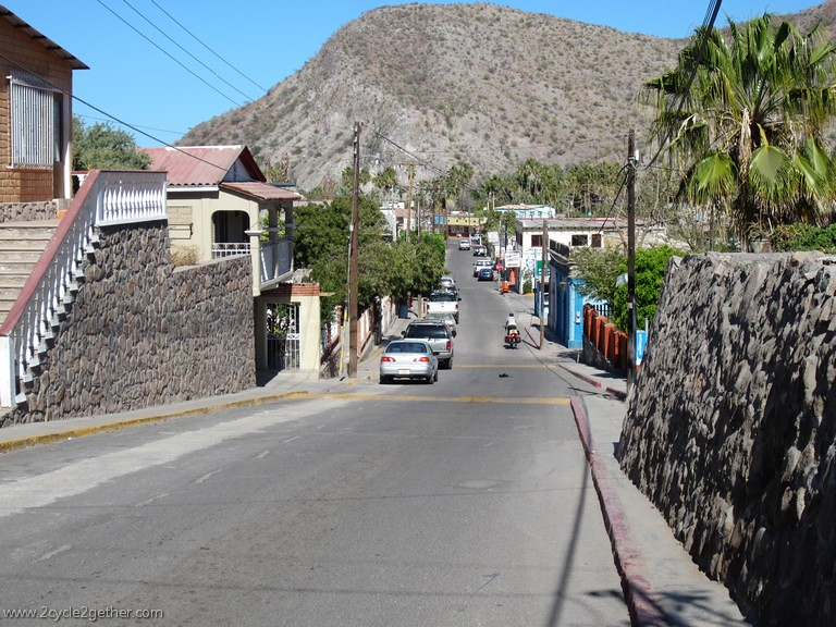 Riding into downtown Mulege