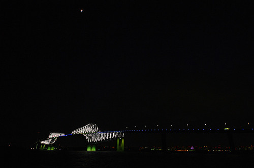 Tokyo Gate Bridge under the moon