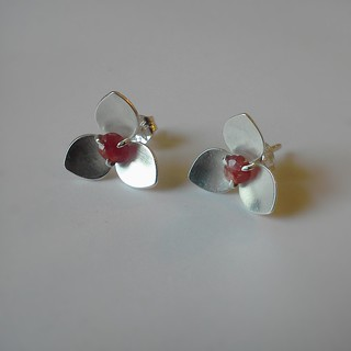 Three Point Petal Studs with sapphires
