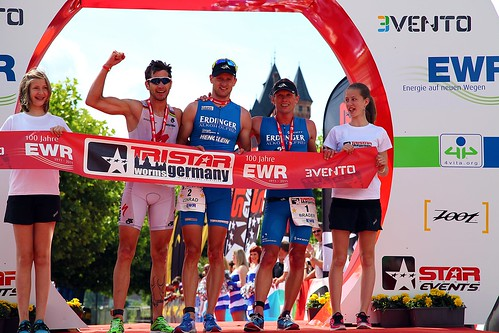 Top-3 Men at the Finish line of the TriStar111 Germany 2012