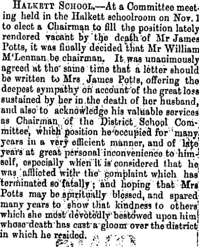 Star 6 Nov 1879 James Potts Death